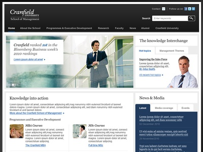 Cranfield management university school business hub portal dark interface website web design cranfield