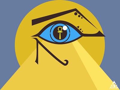 Eye of Egypt ankh flat pyramid horus egyptian egypt symbol flat design vector illustrator