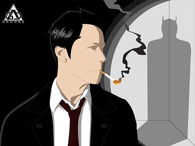 Finding demon shadow illustration flat occult flat design vector illustrator