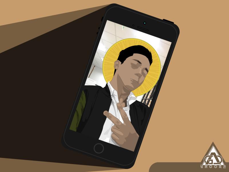 Sacred Mayhem peace halo phone illustration vector illustrator