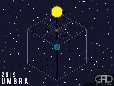 Umbra 2019 star stars earth moon sun minimalism minimal eclipse umbra flat design flat illustration vector illustrator