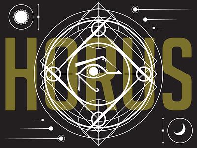 Horus eye symbols symbol horus crescent moon moon sun flat flat design illustrator vector