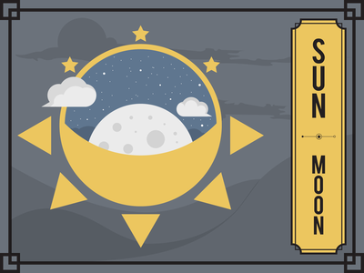 Sun • Moon mountains mountain clouds cloud stars star moon sun minimal minimalism flat flat design illustrator vector