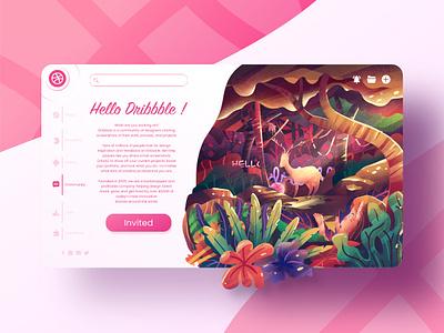 Hello, Dribbble! concept journey character cartoon adventure dribbble dribbble invite ui design ui  ux webdesign forest animals nature illustration design ui landscape illustration background