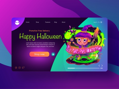 illustration of happy halloween for landing page