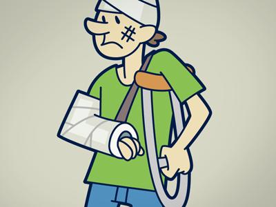 Broken Arm illustration crutches cast bandages injury
