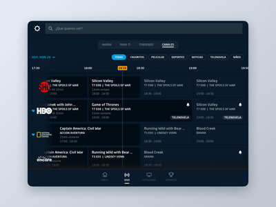 DirecTV Go  //  TV Guide visual design live tv media tv guide sketch ux ui tablet
