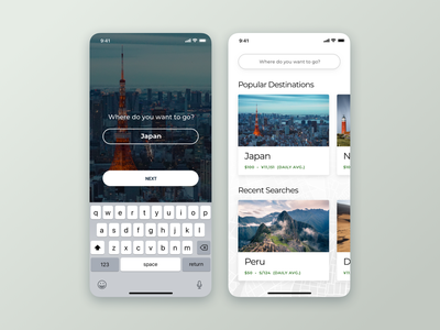 Travel Budget Concept search destination budget japan travel ux design phone app handset interface ui