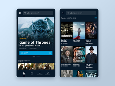 DirecTV Go  //  Home and Catalog app design visual language design system userinterface uidesign uxdesign video app design visual design ux interface ui handset