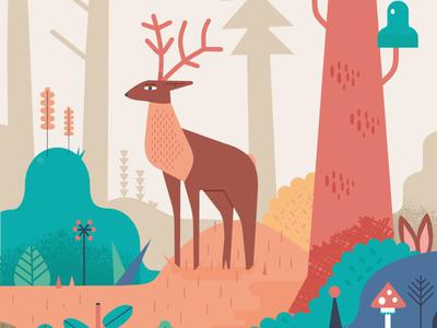 CROP:Hirsch Dear Dribb forest wald illustrations hirsch dear