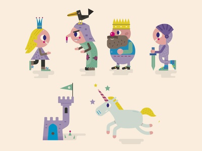 some fary tale characters for school illustration king princess knight farytale charter