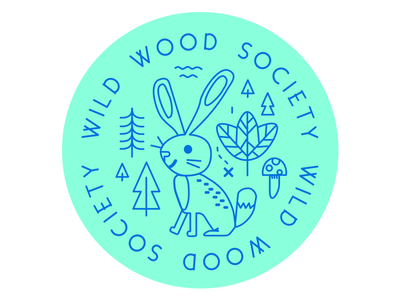 Wildwood Society button illustration button forest wildwood