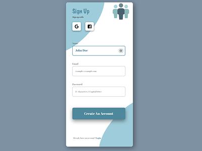 Signup Page 001 #DailyUI branding affinitydesigner sketch inspiration web design ui design ui