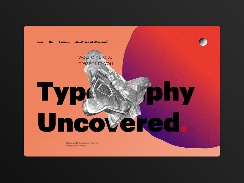 Typography Uncovered, a Homepage UI coral illustrator cinema 4d grain gradient web design web farsi arabic typography typography 3d homepage website arabic illustration ui uidesign persian iranian uix
