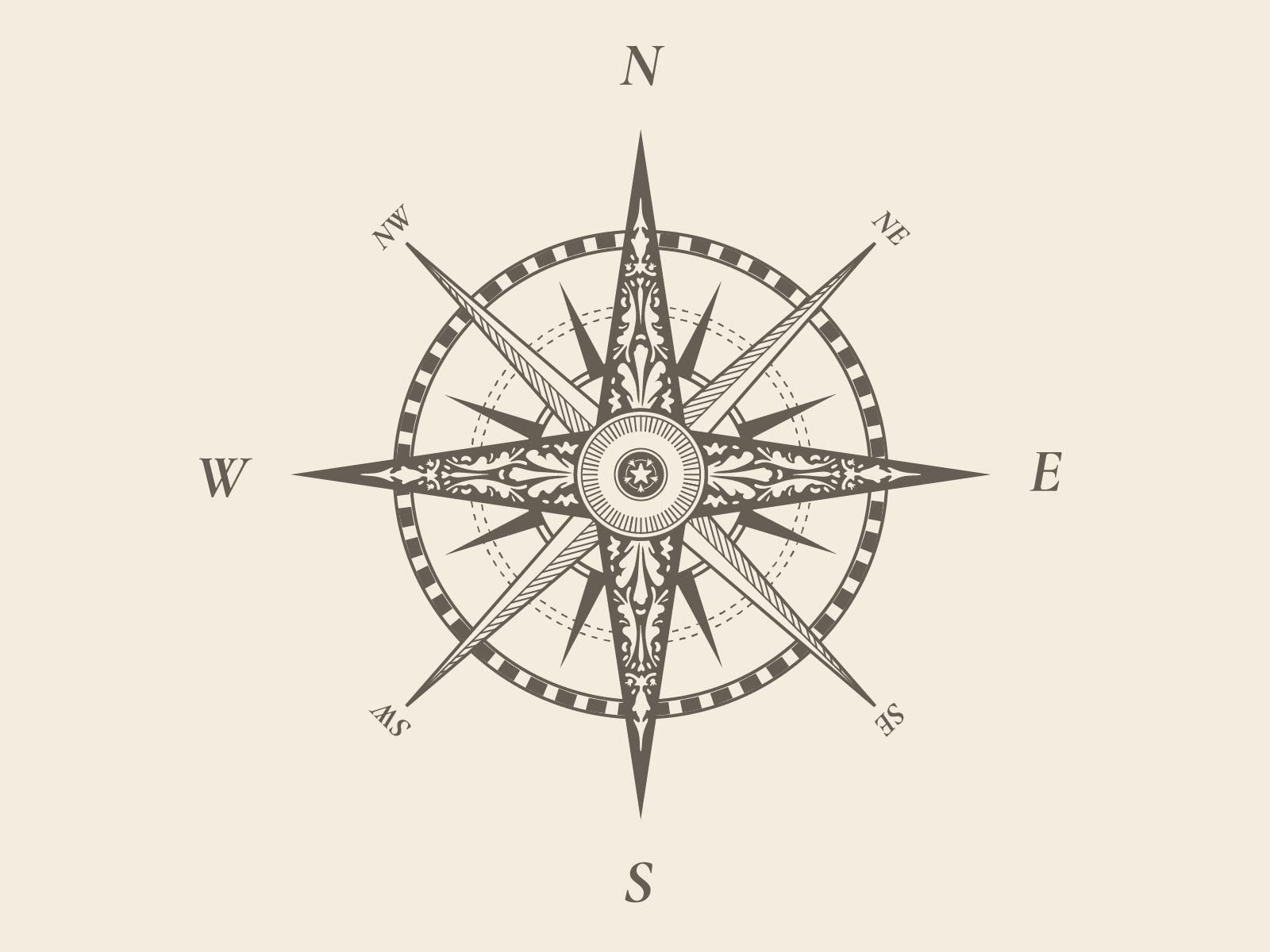 фотография компаса с подписанием сторон света есть