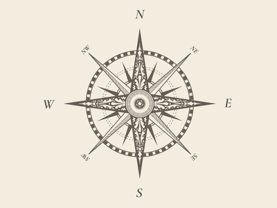 Old School Compass vintage nautical illustration direction compass cardinal