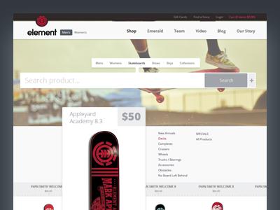 Skateshop Website skate shop website page product cart search field slider menu