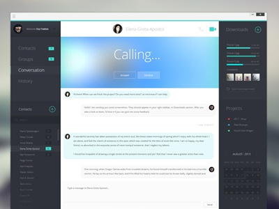 Client chat app WIP ui chat app ux flat dashboard interface admin console clean layout activity