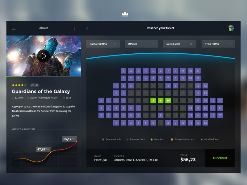 Cinema App cinema app seat flat movie ui interface chart checkout account