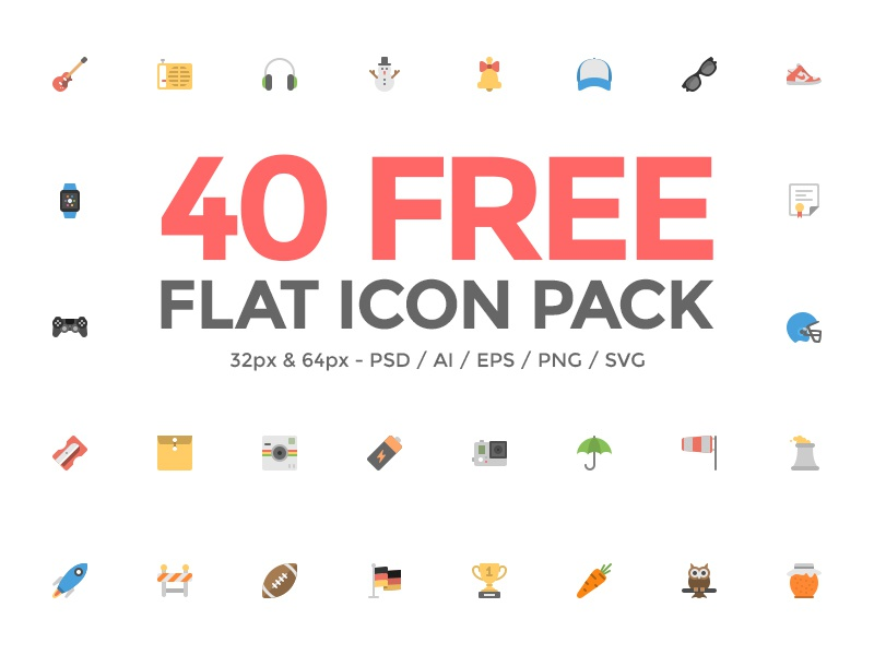 Squid.ink - 40 Flat Icon Pack icon pack vector psd free freebie dashboard user flat social web website