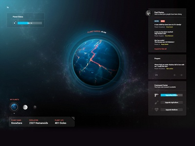 Planet Knowhere UI god creator world interface ui universe galaxy space planet