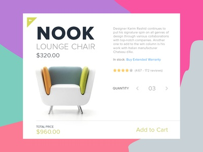 Day 002 - Product Card e-commerce modal chair shop cart to add material card product