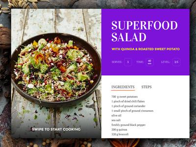 Day 009 - Recipe Card  flat widget restaurant nutrition salad food recipe