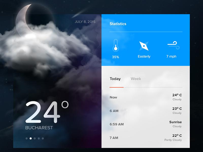 Day 010 - Weather Widget temperature travel app ui interface flat storm widget weather