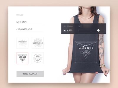 Day 015 - T-shirt Creator ui flat women fashion configure builder brand clothes t-shirt