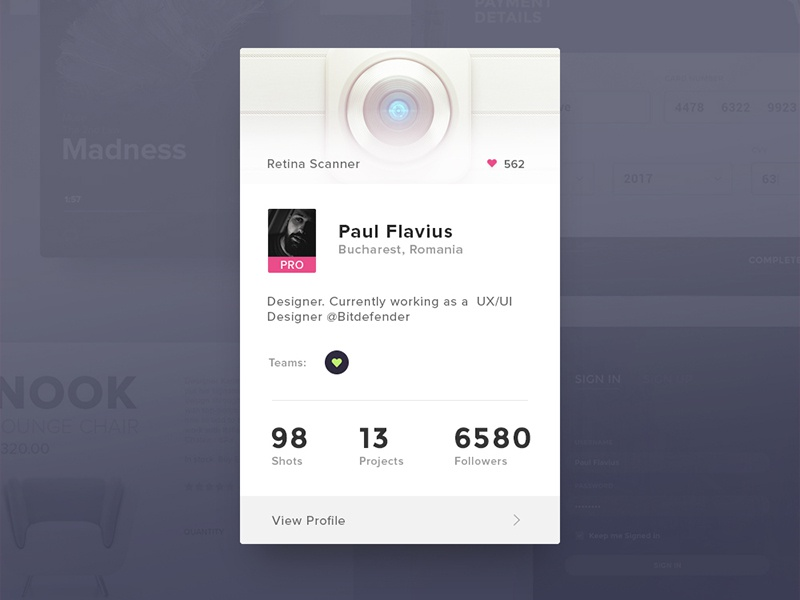 Day 019 - Dribbble Profile Card info about stats design player shots card profile dribbble