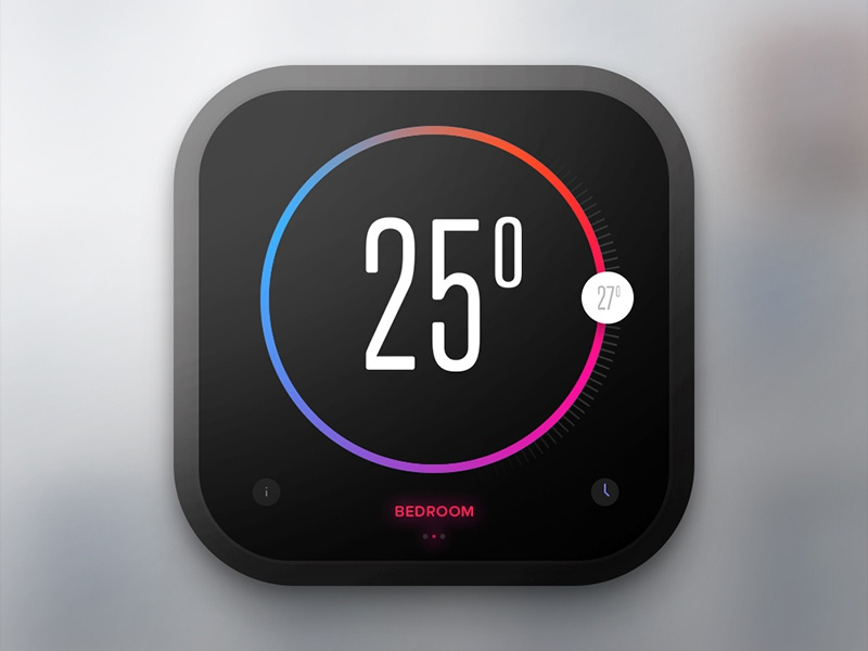 Day 020 - Thermostat Widget flat ui automation home widget thermostat