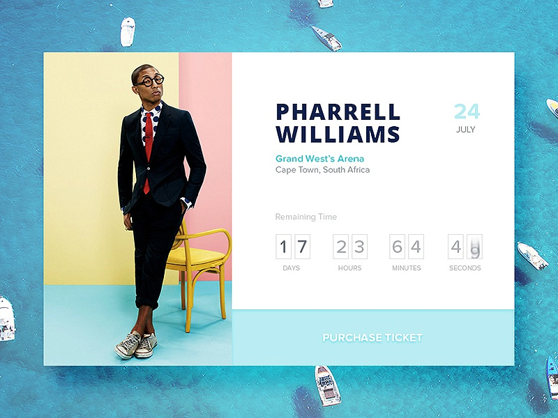 Day 026 - Event Box music ticket purchase counter countdown williams pharrell box event