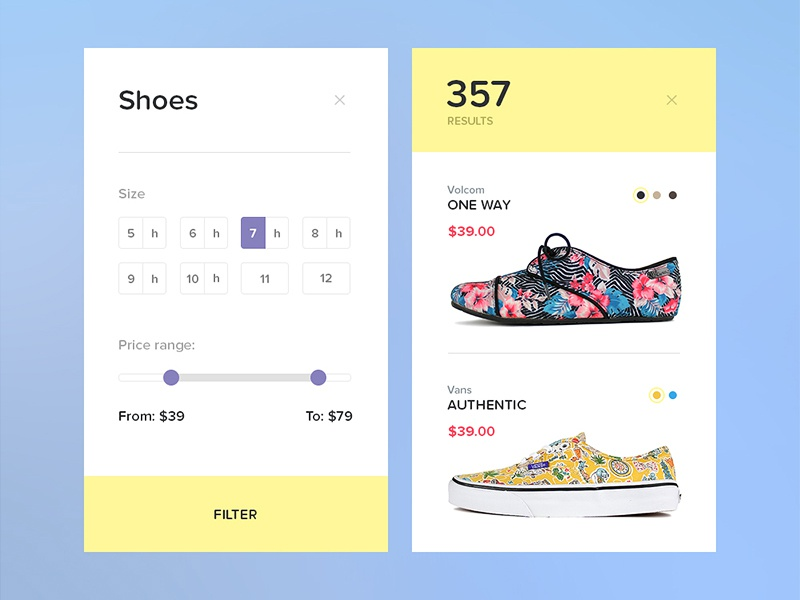 Day 028 - Search Results ui flat fashion clothes shoes filter movile application widget results search