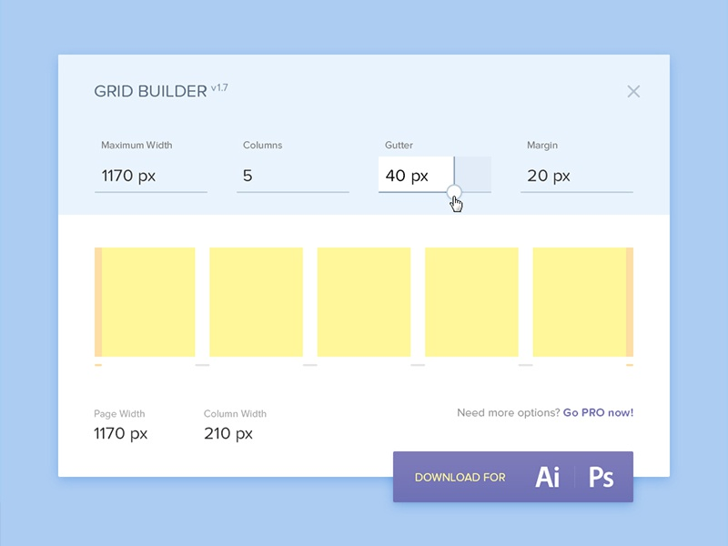 Day 030 - Grid Builder flat ui upgrade ps ai export info web width calculator builder grid