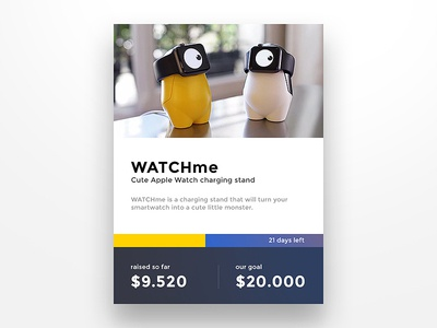 Day 032 - Crowdfunding Card crowdfunding watchme e station dock charge watch apple kickstarter project raising fund