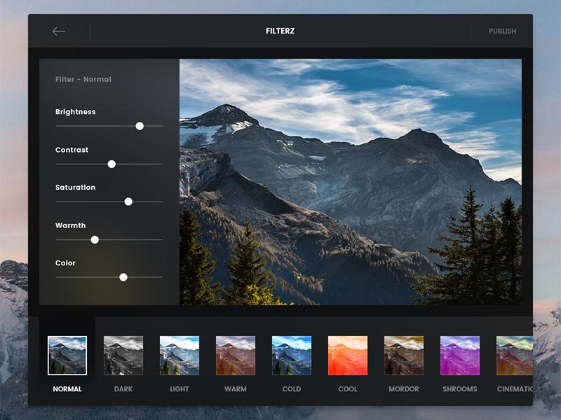 Day 034 - Photo Filter App flat ui dark capitan el apple osx app filter photo