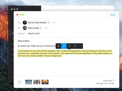 Day 039 - Compose Email email client widget inbox desktop apple osx el capitan small ui interface