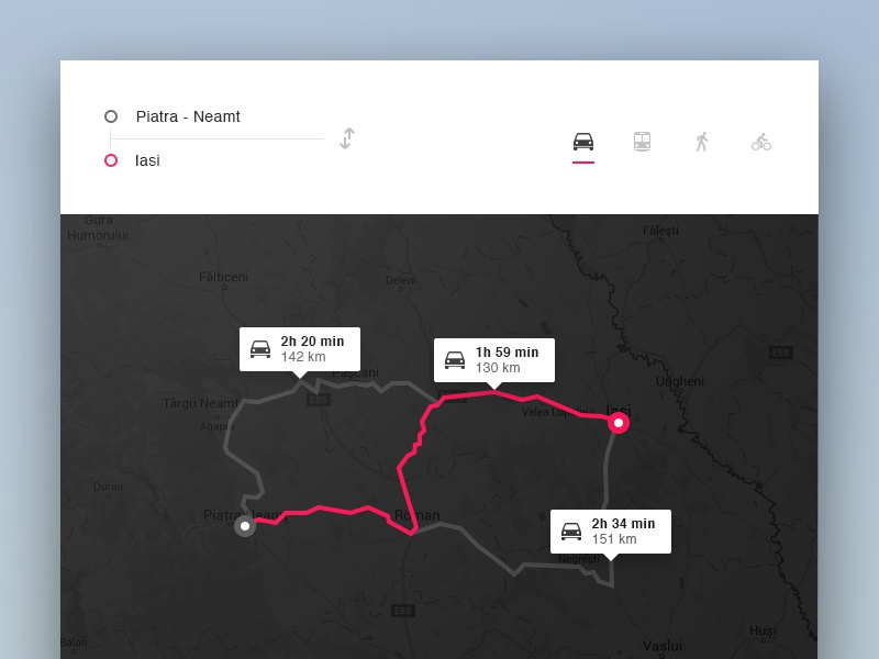 Day 044 - Simple Navigation Widget destination route widget traffic navigation ui flat