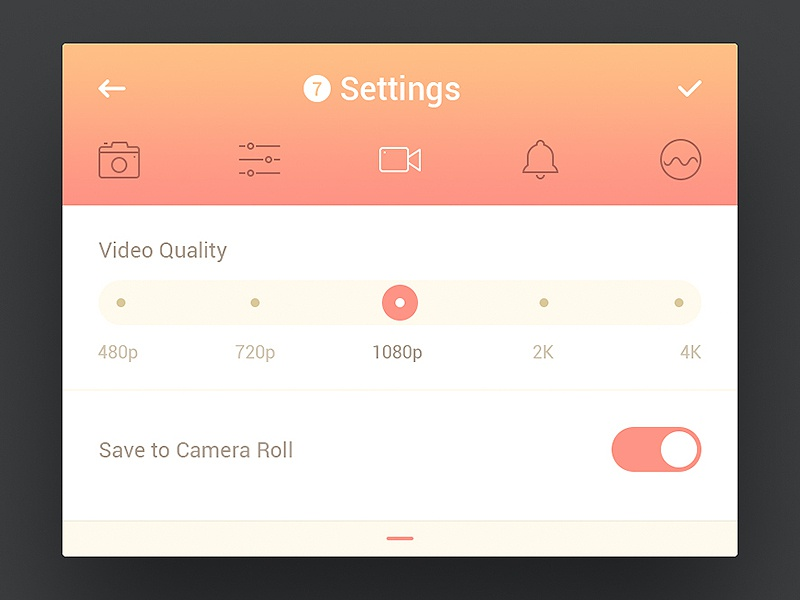 Day 062 - Settings switch roll camera kit ui mobile ios quality video tabs settings