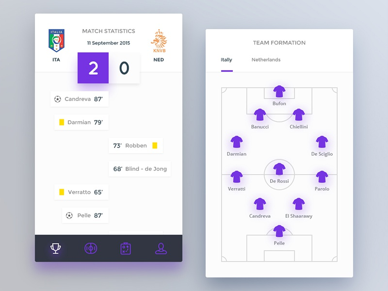 Day 075 - Football Application formation timeline mobile ios match application football