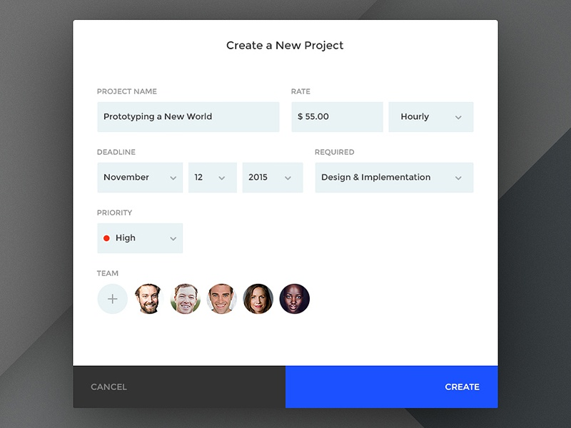 Day 076 - Create a New Project Modal picker date create form field input team view modal project