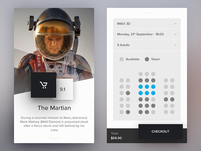 Day 085 - Cinema Application cinema movie seat select ticket but ios mobile app application