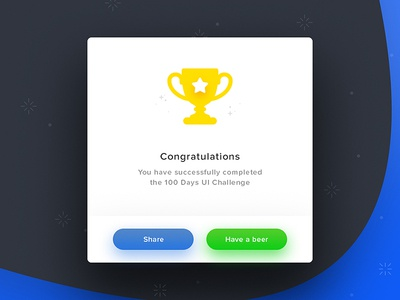 Day 100 - Congratulations Card step last completed challenge share trophy celebration congratulations