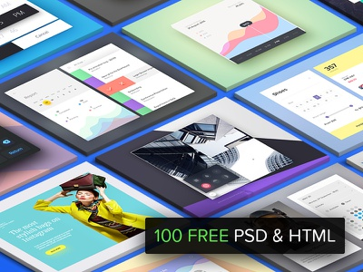 100 FREE PSD & HTML - Daily UI Challenge soft material interface assets challenge ui daily resource html psd free