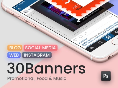 Social Media Banner Pack promotional music food graphics web pinterest instagram pack banner media social