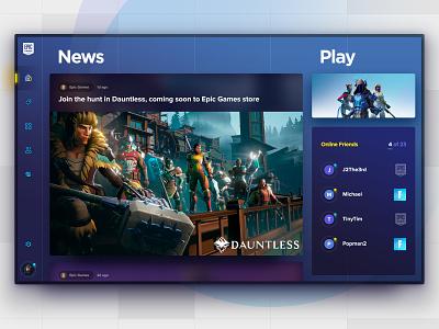 Epic Games Launcher friends list friends tabs games epic fortnite ui desktop app desktop interface