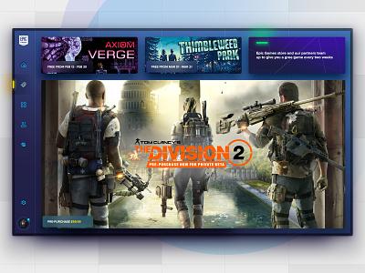 Epic Games Launcher Shop list cards buy ui interface games epic fortnite desktop app desktop
