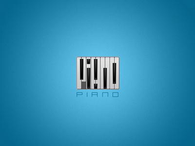 Piano piano music logo minimal black white blue