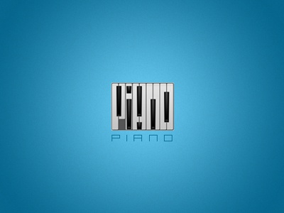 Piano piano music logo minimal black white blue