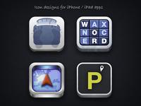 Skeuomorphic iPhone app icons